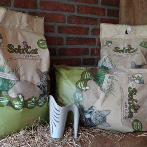natuurlijke lichtgewicht kattenbakvulling van gras klontvormend klompvormend.