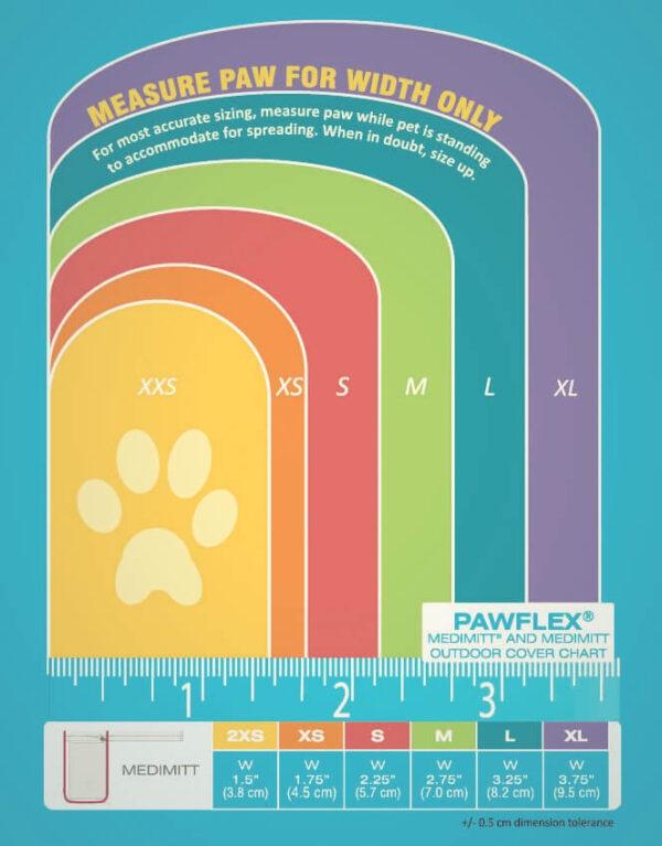 Pawflex medimitt maat tabel