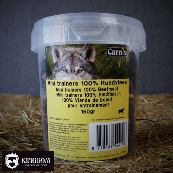 Snack Hond-Kat Carnis mini vleestrainers Rund 150gr