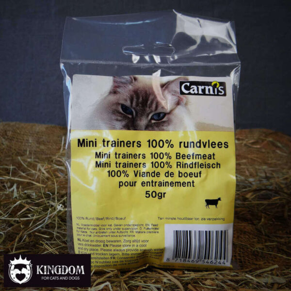 Snack Hond-Kat Carnis mini vleestrainers Rund 50gr