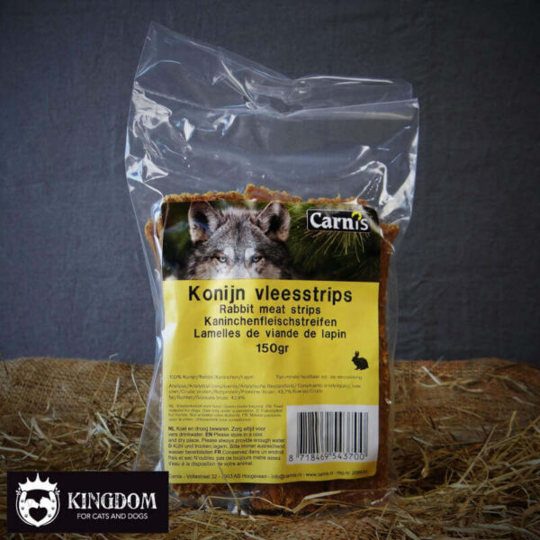 Snack Hond Kat Carnis vlees strips Konijn 150gr