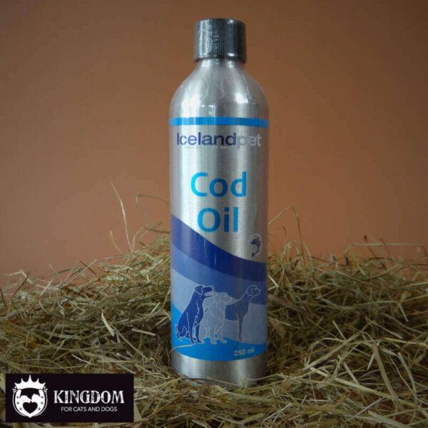 IcelandPet Cod Oil = 100% zuivere kabeljauw olie, rijk aan Omega-3 vetzuren met vitamine A en D