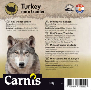 Carnis mini vlees trainer gedroogde Kalkoen