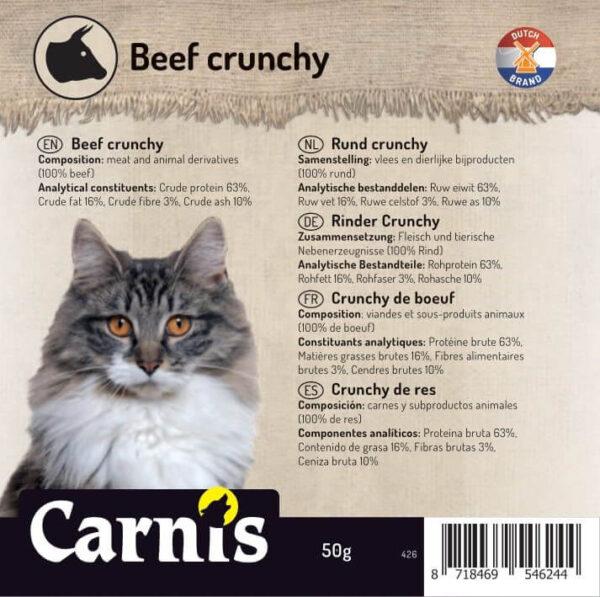 Snack voor Hond & Kat, Carnis mini-trainers gedroogde Rundvlees crunchy