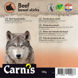 Snack voor Hond Carnis gedroogde runderdarm sticks