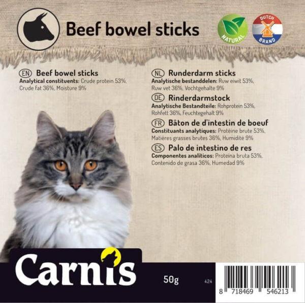 Snack voor Kat & Hond Carnis gedroogde runderdarm sticks