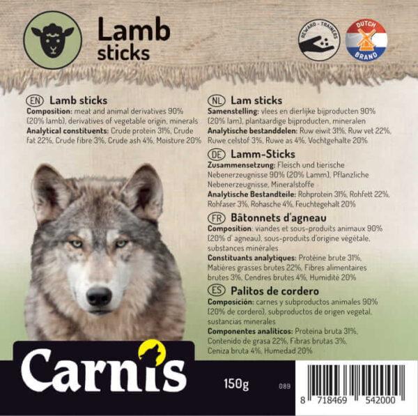 Snack voor Hond& Kat Carnis Lam sticks